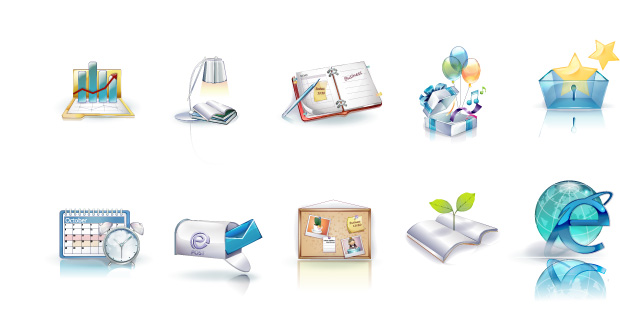 Vista icons statistics report performance pen notebook graph gift desk lamp calendar box book ball alarm clock