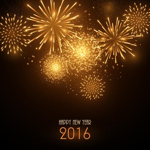 year new golden Fireworks 2016
