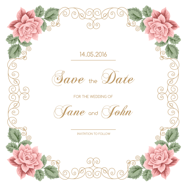 Vintage flower with wedding invitation vector 05 WeLoveSoLo