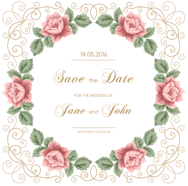 Vintage flower with wedding invitation vector 06 WeLoveSoLo