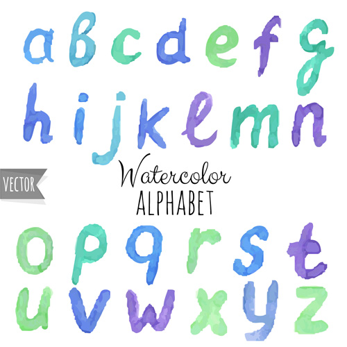 watercolor numebrs letter alphabet