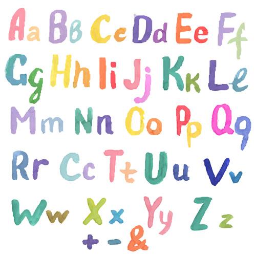 watercolor numebrs letter alphabet