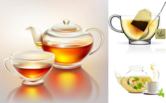 realistic pots kettles glittering and translucent glass cups