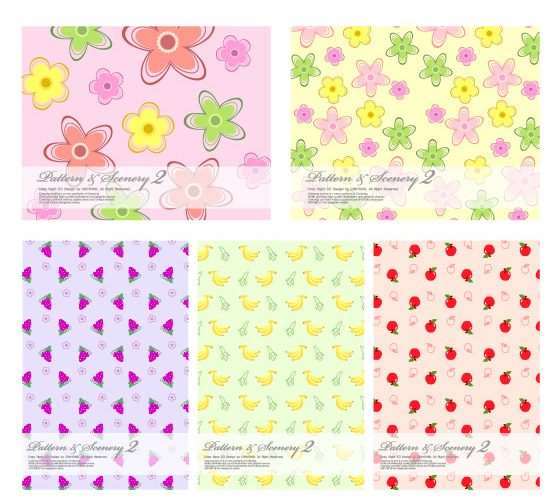 tile map grapes flowers bananas background apples