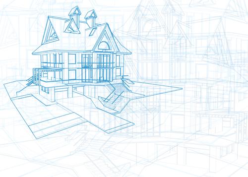 House architecture blueprint vector set 11 welovesolo house blueprint architecture malvernweather Gallery