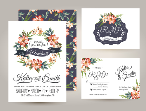 Elegant Flower Wedding Invitation Card Kit Vector 02 Welovesolo