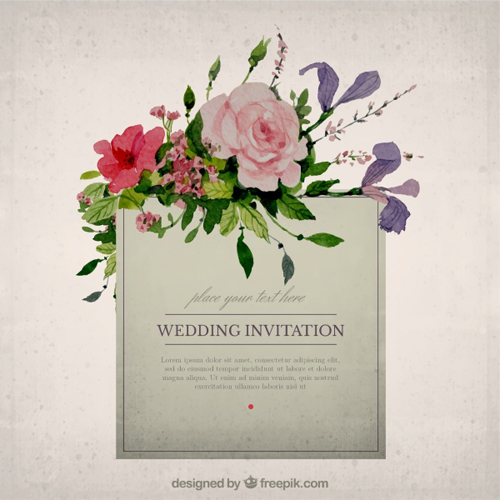 Vintage flower wedding invitation cards vector 01 - WeLoveSoLo