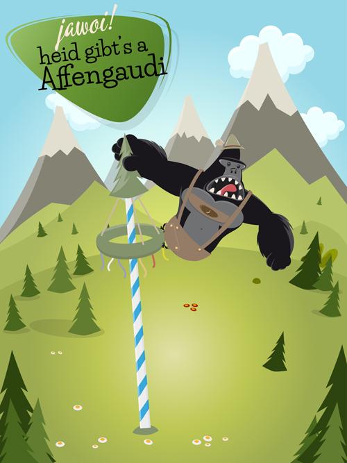 mountains gorilla cartoon