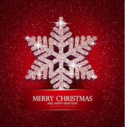 snowflake shiny red christmas background