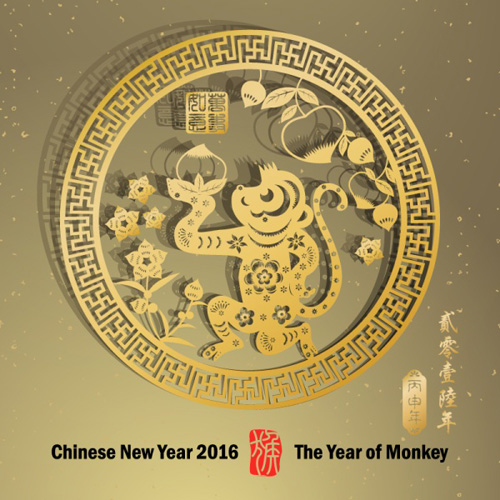 year new monkey design chinese 2016