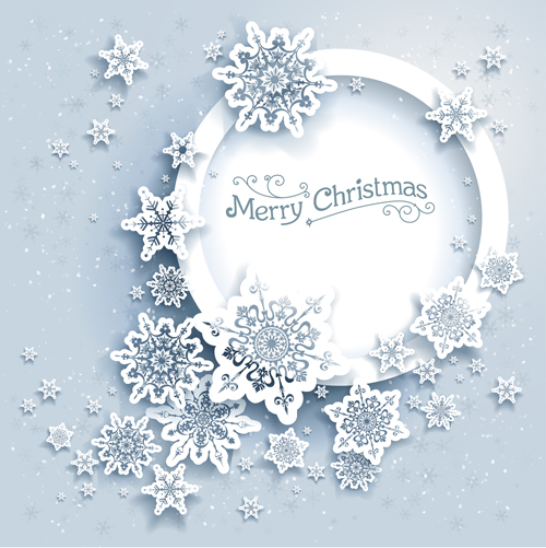 snowflake paper frmae christmas background 2016