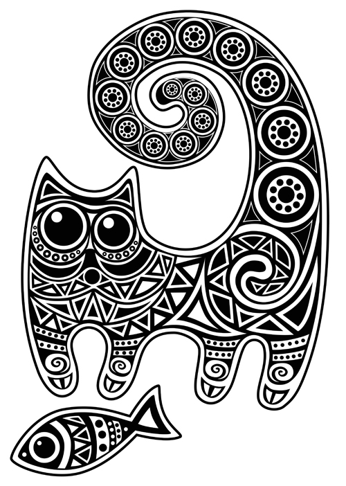 Pattern Funny Floral Cats