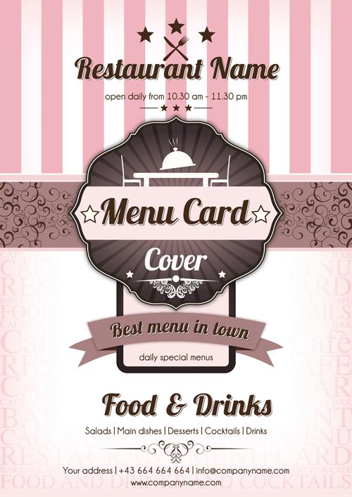Retro style restaurant menu