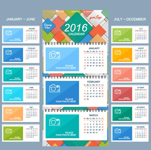 2016 new year desk calendar vector material 26 welovesolo