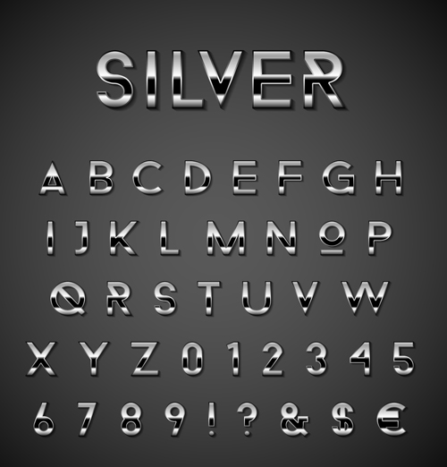 silver numbers number alphabet