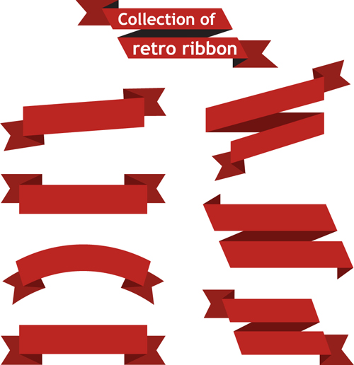 ribbons Retro font red
