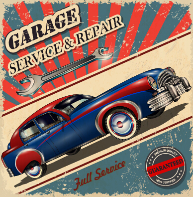 Vintage Style vintage poster car advertising