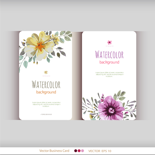Beautiful Watercolor Flower Business Cards Vector Set 15 Welovesolo