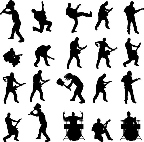 silhouetter musicians