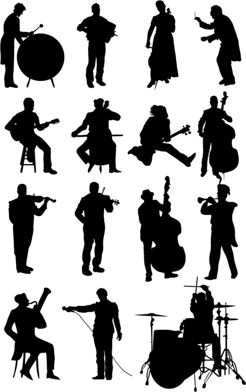 silhouetter musicians