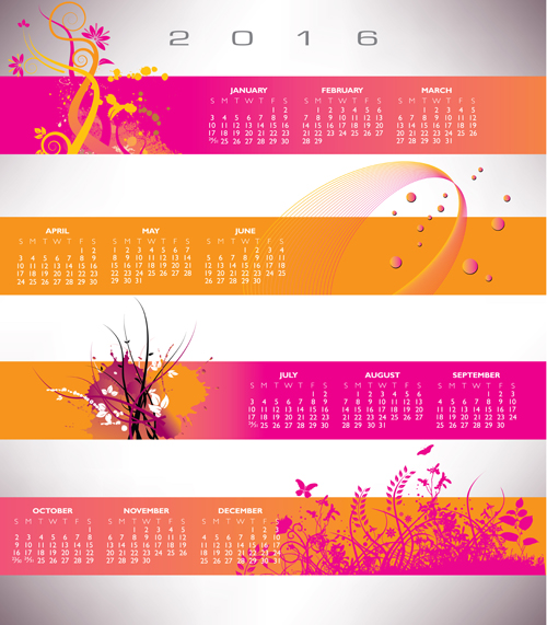 colored calendar banner 2016