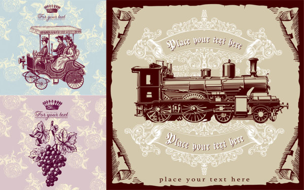 woman train shading posters pattern graphics grape flowers crown coach background