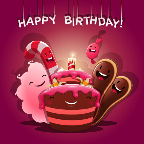 vector background cute birthday cake birthday background