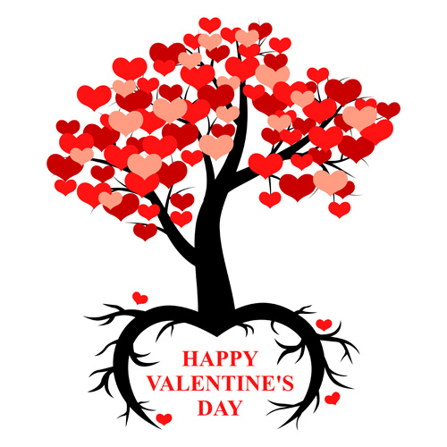 Hearts Tree With Valentines Day Vector Welovesolo