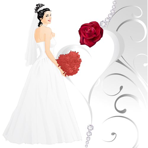 wedding rose red card bride beautiful and