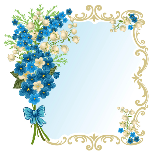 beautiful flower with retro frame vector material 06 welovesolo beautiful flower with retro frame