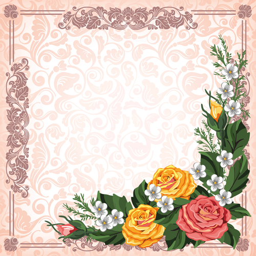 Beautiful flower with retro frame vector material 08 - WeLoveSoLo