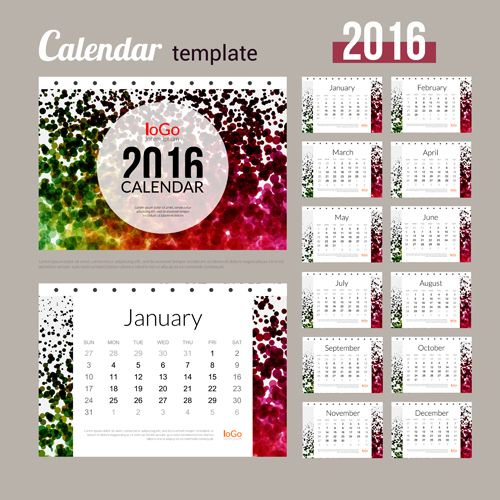 Creative Calendar 2016 Template Vector 06 Welovesolo