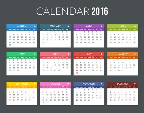 Creative Calendar 2016 Template Vector 07 Welovesolo