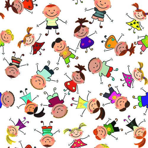 seamless pattern kids cartoon