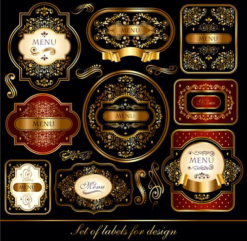 luxury labels gold frame dark