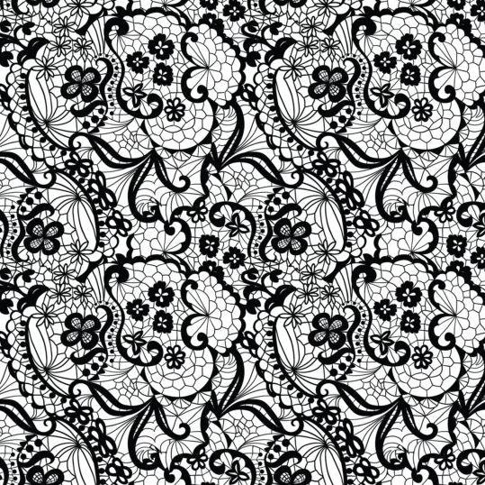 beautiful lace black pattern vector 09