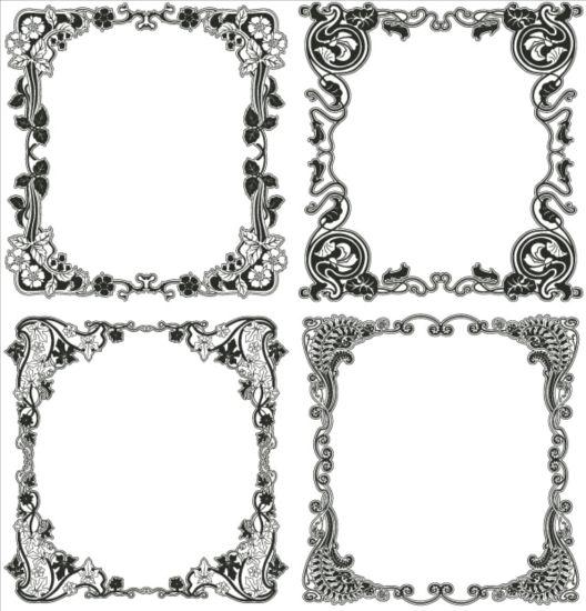 frame floral black