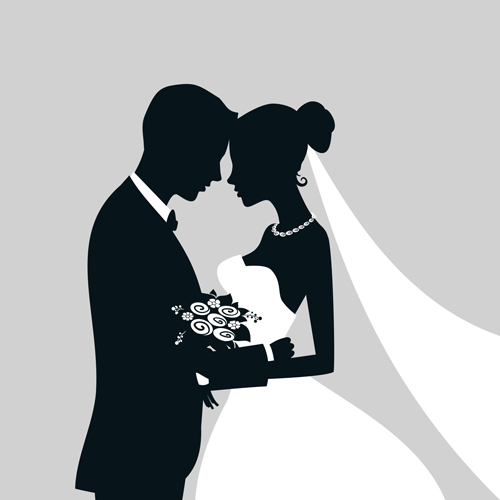 silhouettes groom bride