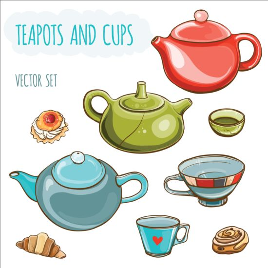teapots different cups