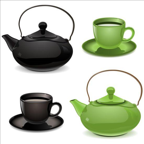 teapot cup blue black