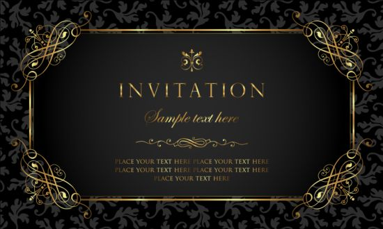 vintage style invitation gold card black