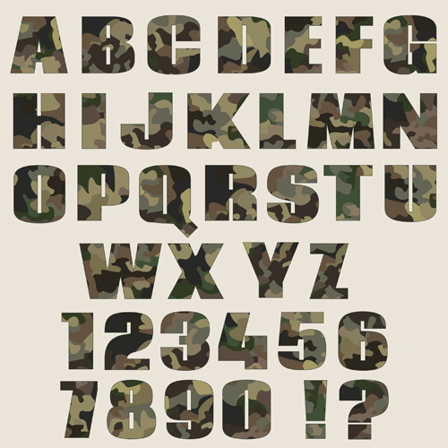 fonts camouflage alphabets