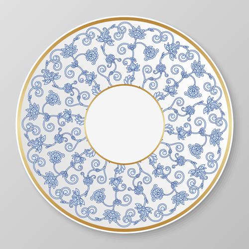 plates ornament golden frame floral blue