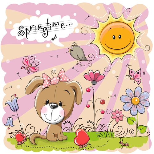 springtime postcards cute cartoon