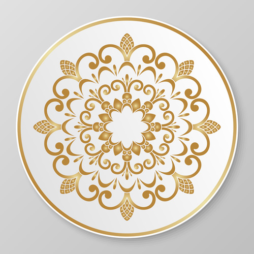 plates ornaments golden floral