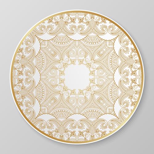 plates ornaments golden floral