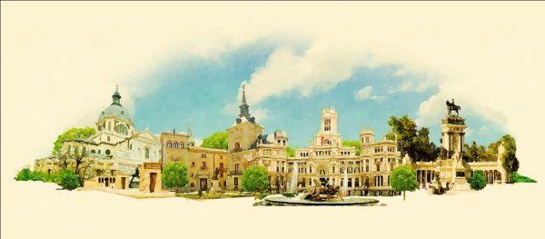 watercolor pano Madrid