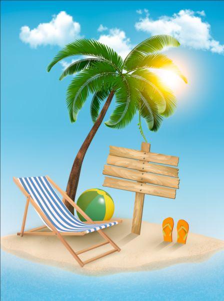 tree travel palms chair beach background