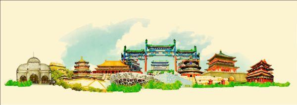 watercolor city Beijing