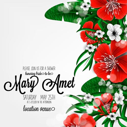 wedding invitation hibiscus flowers card